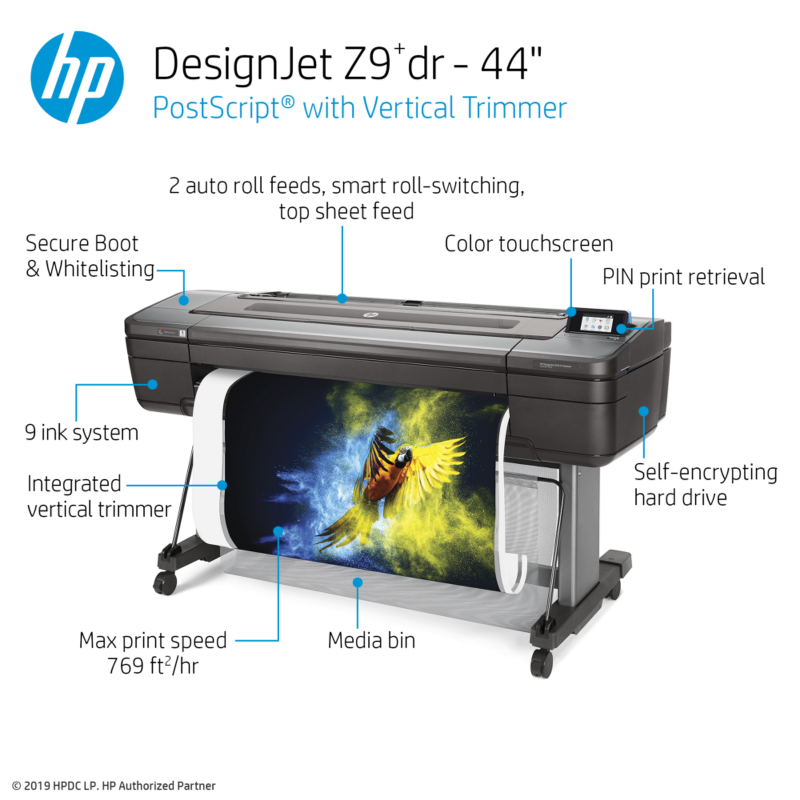 Designjet Z9+dr PS Printer with V-Trimmer - 44in, X9D24A, HP Large ...